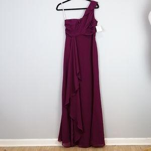 David's Bridal Chiffon Dress Sangria Size 6